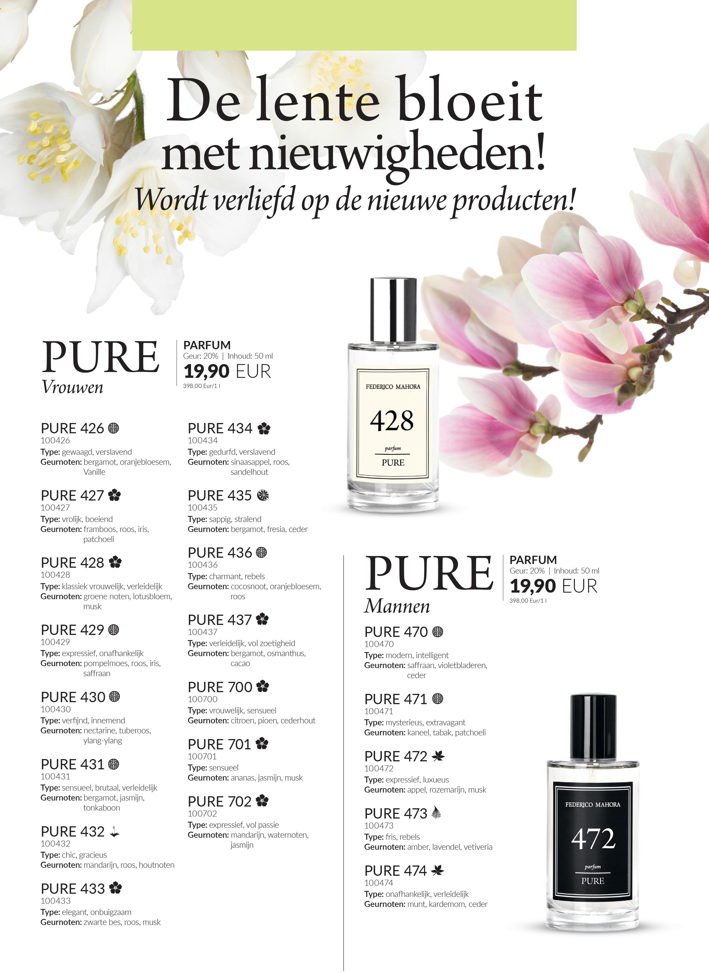 De 20 Nieuwe Pure Parfums Zijn Beschikbaar In De Online Shop